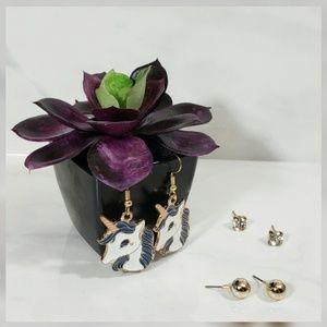 Jewelry - Blue Unicorn 3 Set Earings